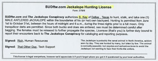 Legendary texas jackalope sherry key mixed media artist for Texas hunting and fishing license