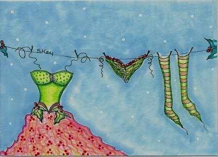 """Original """"Fairy Laundry Day"""" ACEO"""