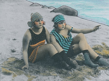 """Two Girls At The Beach"" handcolored photo"