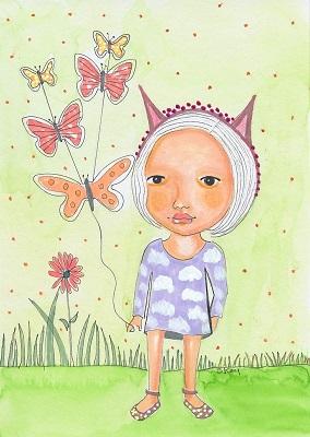 """Butterfly Kites"" original art by Sherry Key Skey"