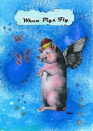 When Pigs Fly Mixed media on paper by Sherry Key Skey